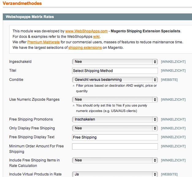 Magento verzendkosten per postcode